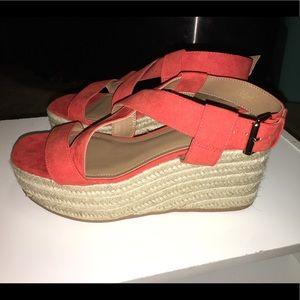 H&M Orange Wedge Sandal, Size 8.5